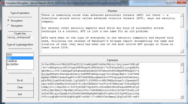 Interfejs skryptu Encryptor-Decryptor