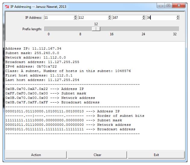 Planowanie adresacji IP - GUI skryptu